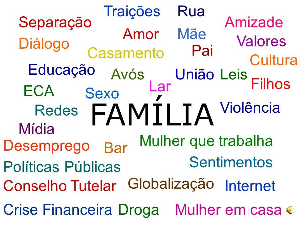 FAMÍLIA Traições Rua Separação Amizade Amor Mãe Valores Diálogo Pai