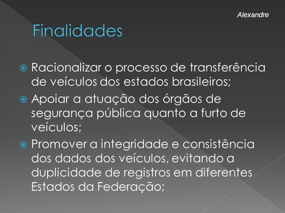 Finalidades Alexandre. Racionalizar o processo de transferência de veículos dos estados brasileiros;