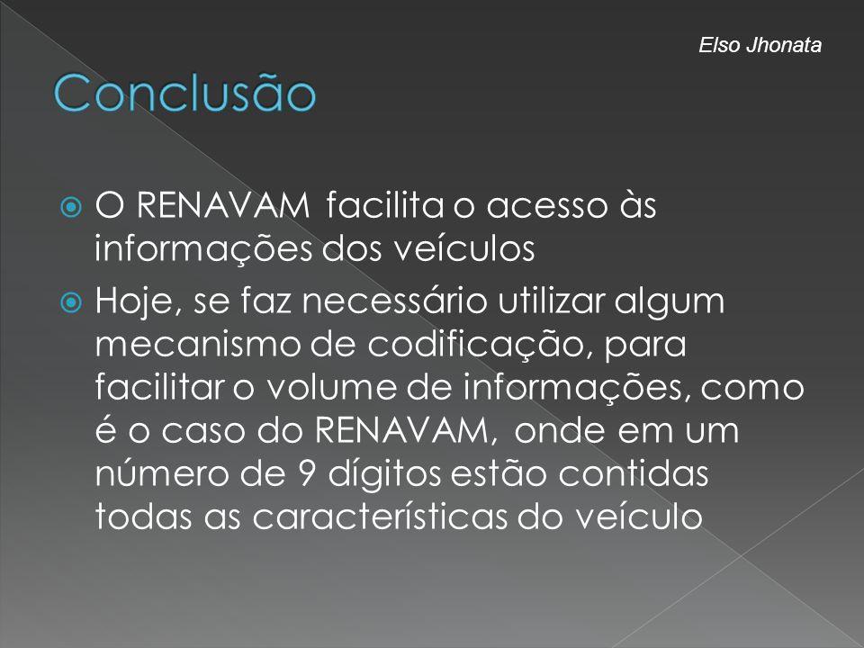 Conclusão O RENAVAM facilita o acesso às informações dos veículos