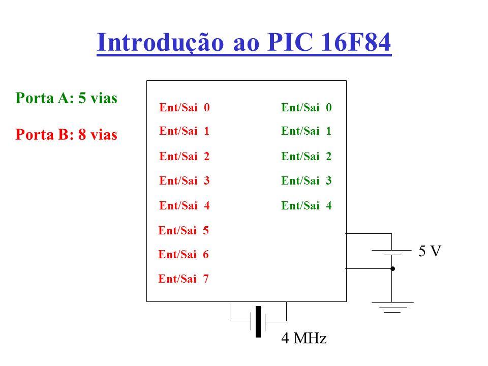 Introdução ao PIC 16F84 Porta A: 5 vias Porta B: 8 vias 5 V 4 MHz