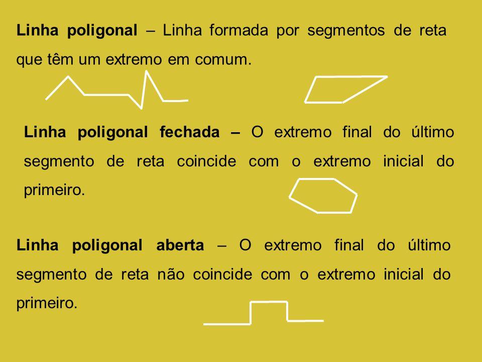 Linha poligonal – Linha formada por segmentos de reta que têm um extremo em comum.