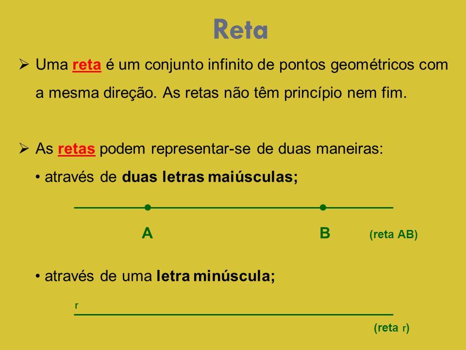 Reta Uma reta é um conjunto infinito de pontos geométricos com a mesma direção. As retas não têm princípio nem fim.