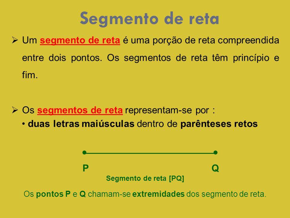 Os pontos P e Q chamam-se extremidades dos segmento de reta.