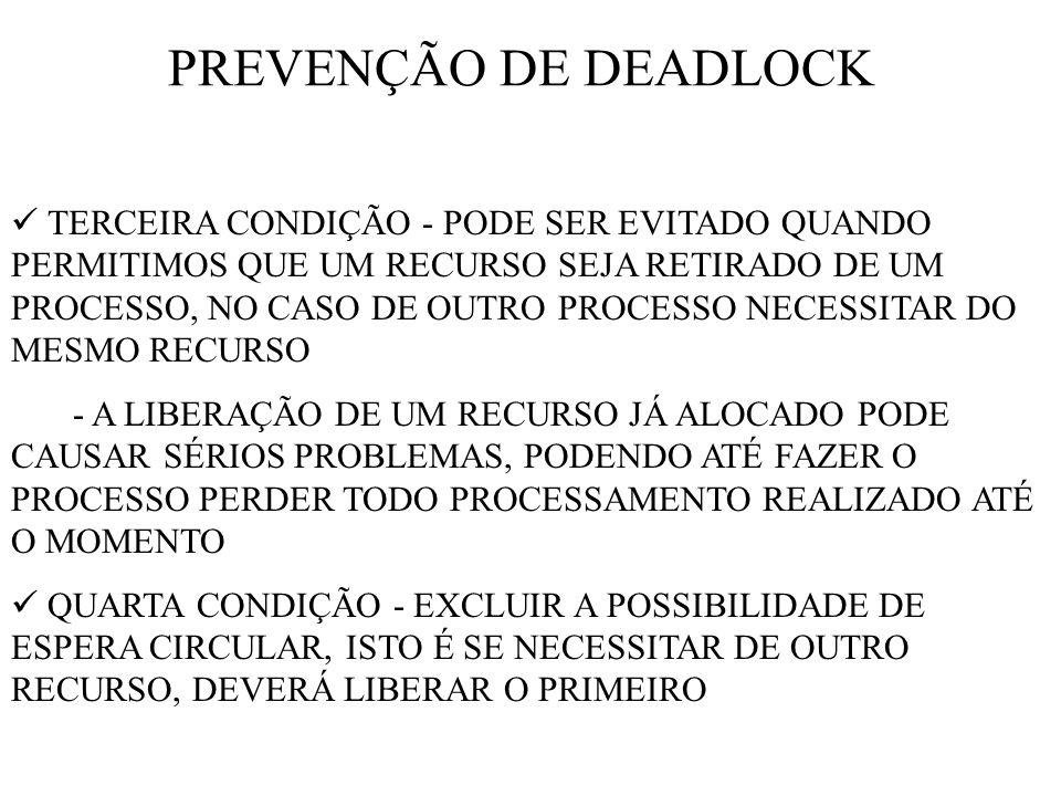 PREVENÇÃO DE DEADLOCK