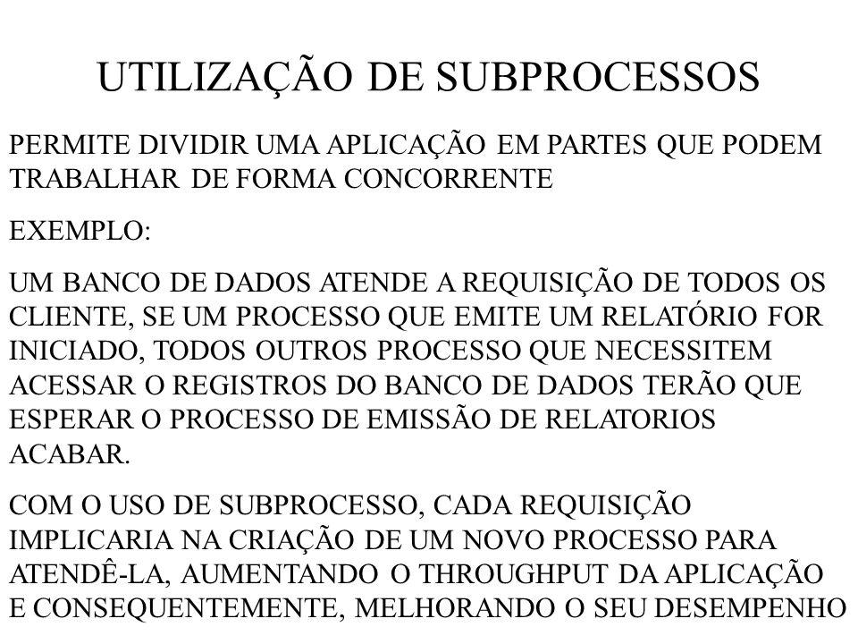 UTILIZAÇÃO DE SUBPROCESSOS