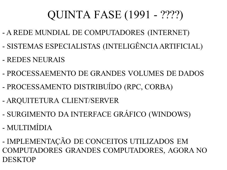 QUINTA FASE (1991 - ) - A REDE MUNDIAL DE COMPUTADORES (INTERNET)