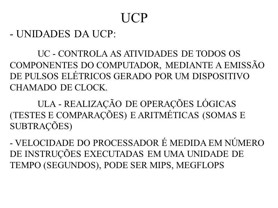 UCP - UNIDADES DA UCP: