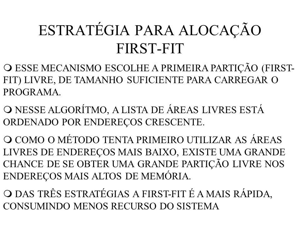 ESTRATÉGIA PARA ALOCAÇÃO FIRST-FIT