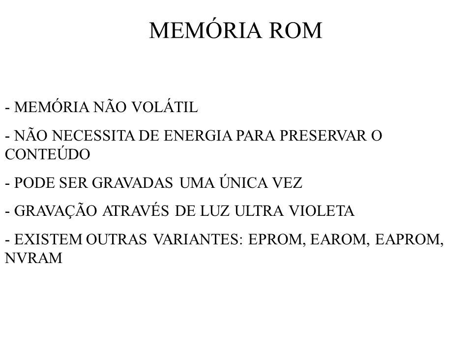 MEMÓRIA ROM - MEMÓRIA NÃO VOLÁTIL