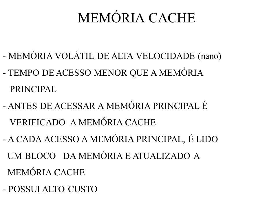 MEMÓRIA CACHE - MEMÓRIA VOLÁTIL DE ALTA VELOCIDADE (nano)