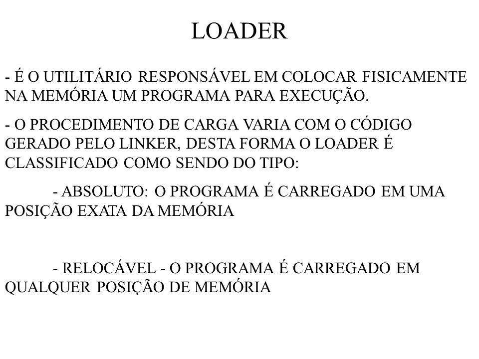 LOADER - É O UTILITÁRIO RESPONSÁVEL EM COLOCAR FISICAMENTE NA MEMÓRIA UM PROGRAMA PARA EXECUÇÃO.