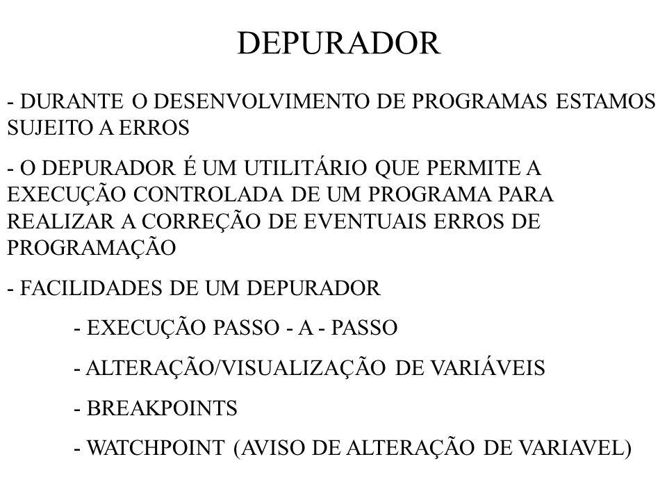 DEPURADOR - DURANTE O DESENVOLVIMENTO DE PROGRAMAS ESTAMOS SUJEITO A ERROS.