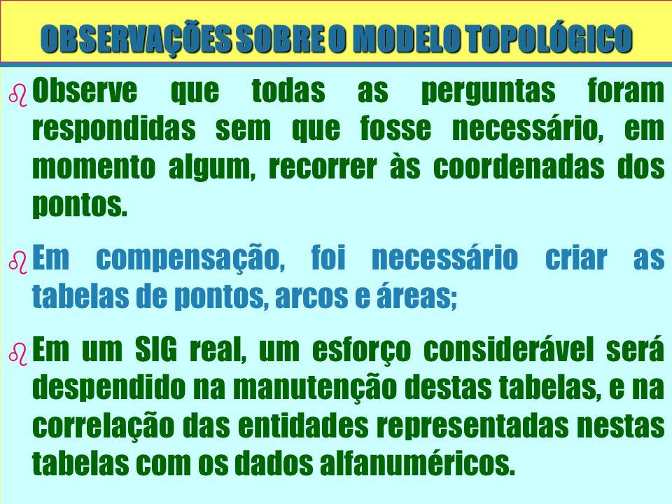 OBSERVAÇÕES SOBRE O MODELO TOPOLÓGICO