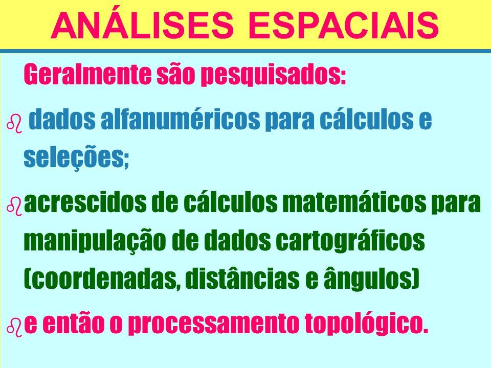 ANÁLISES ESPACIAIS dados alfanuméricos para cálculos e seleções;