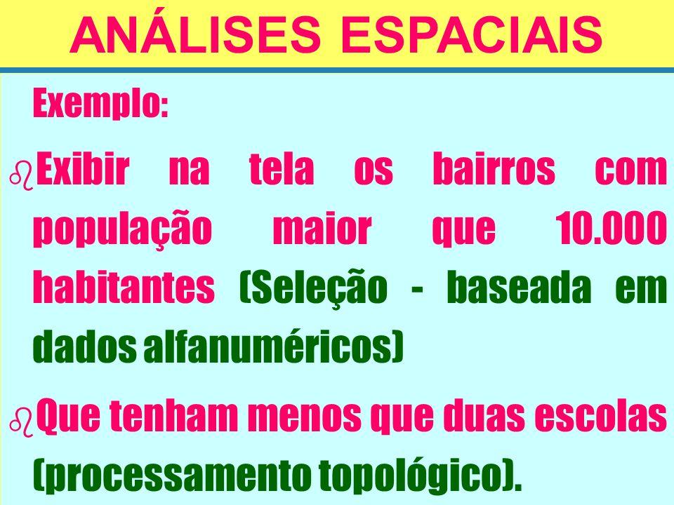 ANÁLISES ESPACIAIS Exemplo: Exibir na tela os bairros com população maior que 10.000 habitantes (Seleção - baseada em dados alfanuméricos)