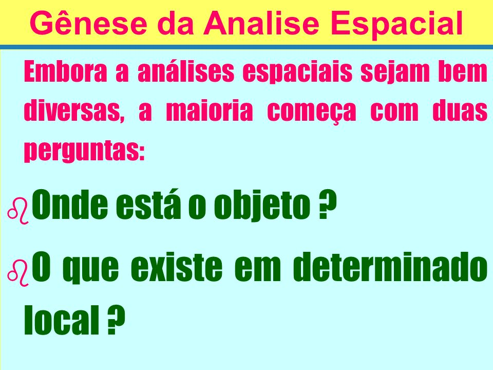 Gênese da Analise Espacial