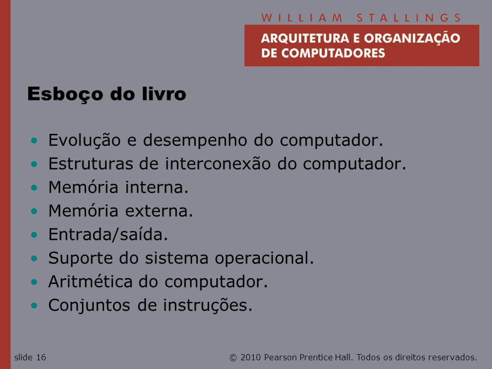 Esboço do livro Evolução e desempenho do computador.