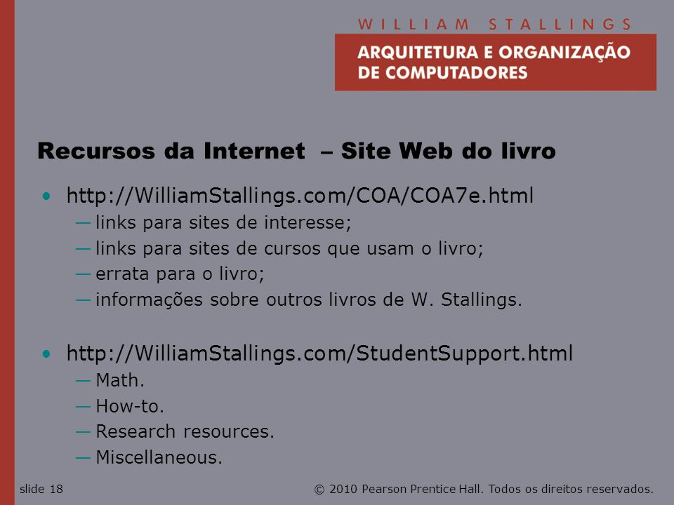 Recursos da Internet – Site Web do livro
