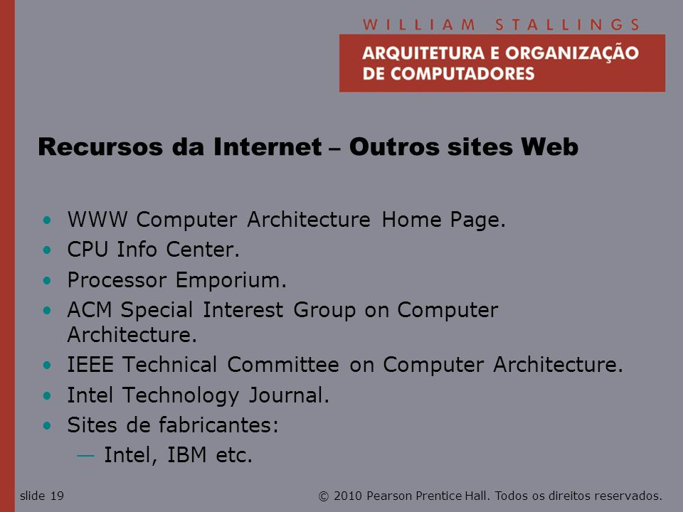 Recursos da Internet – Outros sites Web
