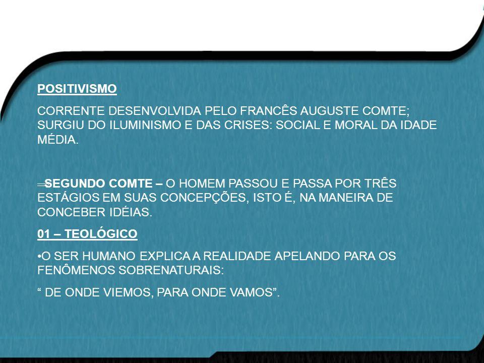 POSITIVISMO CORRENTE DESENVOLVIDA PELO FRANCÊS AUGUSTE COMTE; SURGIU DO ILUMINISMO E DAS CRISES: SOCIAL E MORAL DA IDADE MÉDIA.