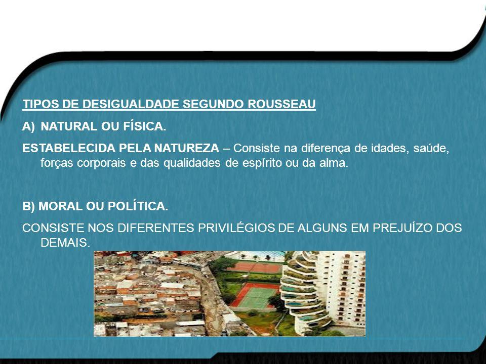 TIPOS DE DESIGUALDADE SEGUNDO ROUSSEAU