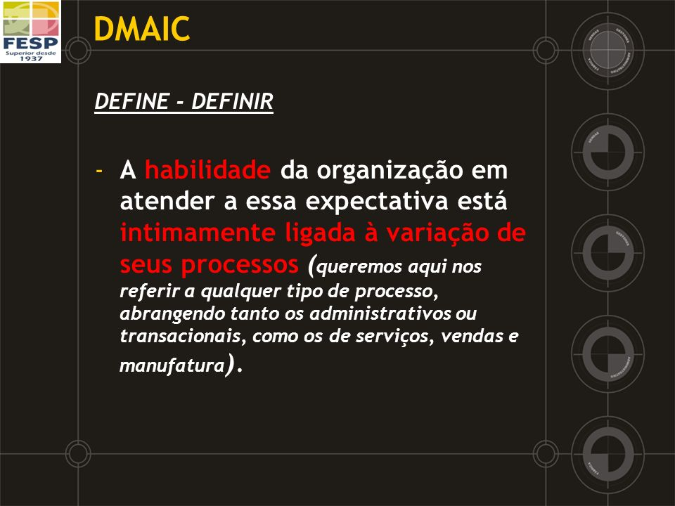 DMAIC DEFINE - DEFINIR.