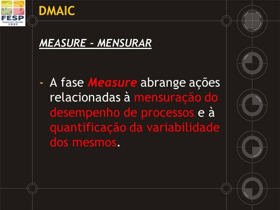 DMAIC MEASURE – MENSURAR.