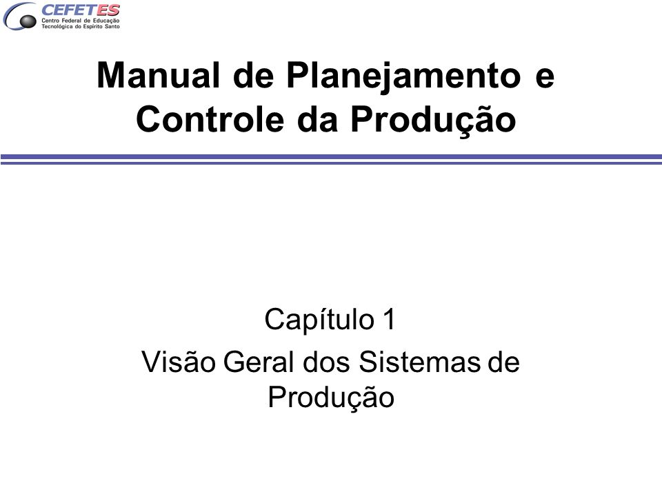 Manual de Planejamento e Controle da Produção