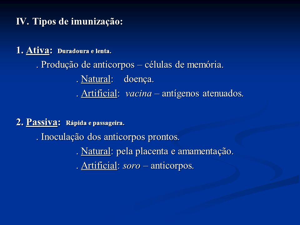 IV. Tipos de imunização: