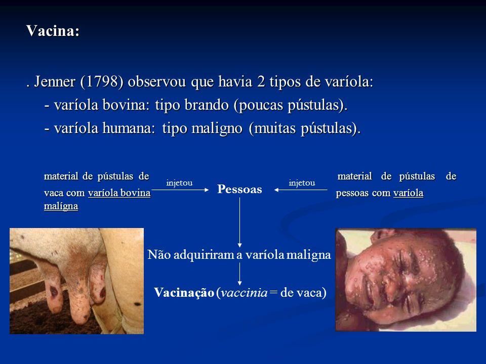 . Jenner (1798) observou que havia 2 tipos de varíola: