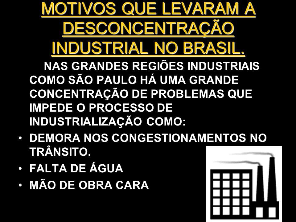 MOTIVOS QUE LEVARAM A DESCONCENTRAÇÃO INDUSTRIAL NO BRASIL.