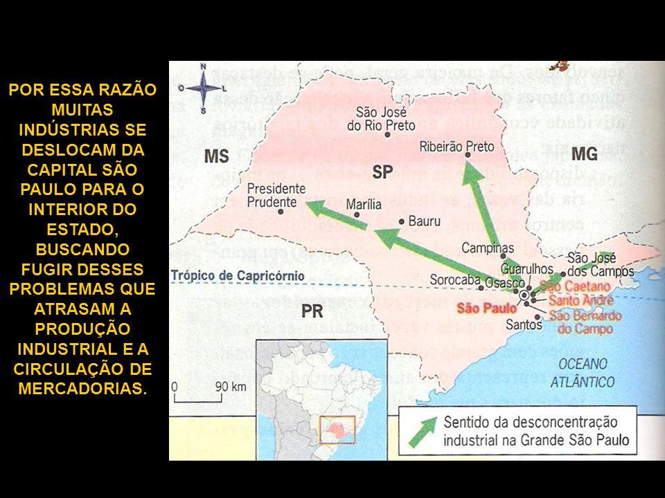 POR ESSA RAZÃO MUITAS INDÚSTRIAS SE DESLOCAM DA CAPITAL SÃO PAULO PARA O INTERIOR DO ESTADO, BUSCANDO FUGIR DESSES PROBLEMAS QUE ATRASAM A PRODUÇÃO INDUSTRIAL E A CIRCULAÇÃO DE MERCADORIAS.