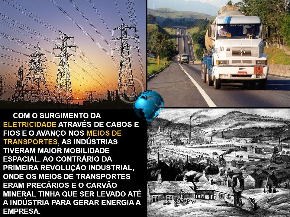 COM O SURGIMENTO DA ELETRICIDADE ATRAVÉS DE CABOS E FIOS E O AVANÇO NOS MEIOS DE TRANSPORTES, AS INDÚSTRIAS TIVERAM MAIOR MOBILIDADE ESPACIAL.