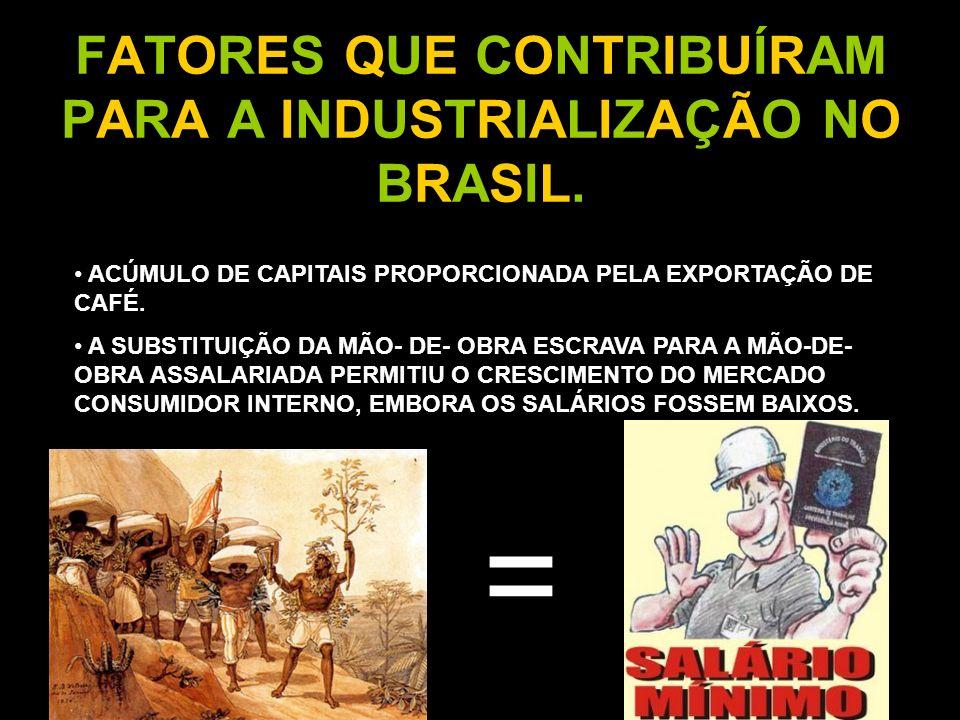 FATORES QUE CONTRIBUÍRAM PARA A INDUSTRIALIZAÇÃO NO BRASIL.