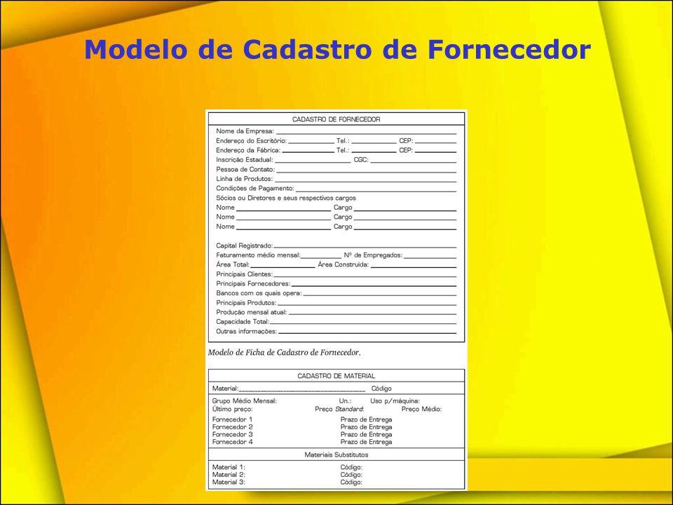 Modelo de Cadastro de Fornecedor