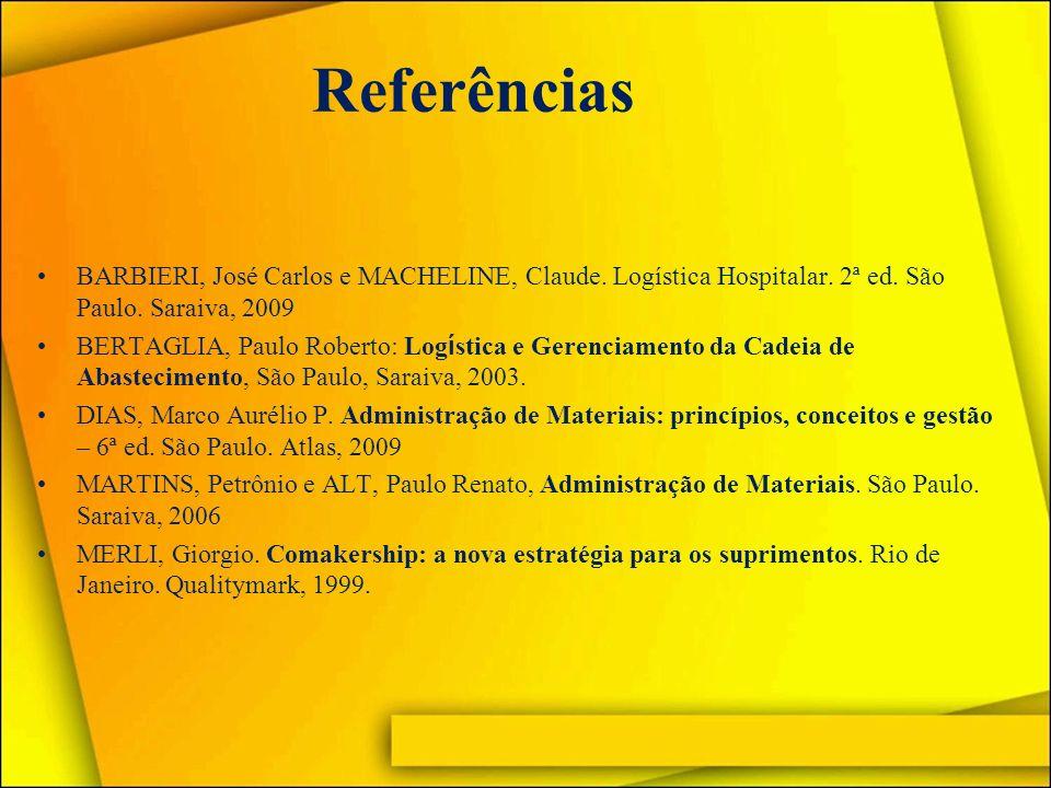 Referências BARBIERI, José Carlos e MACHELINE, Claude. Logística Hospitalar. 2ª ed. São Paulo. Saraiva, 2009.