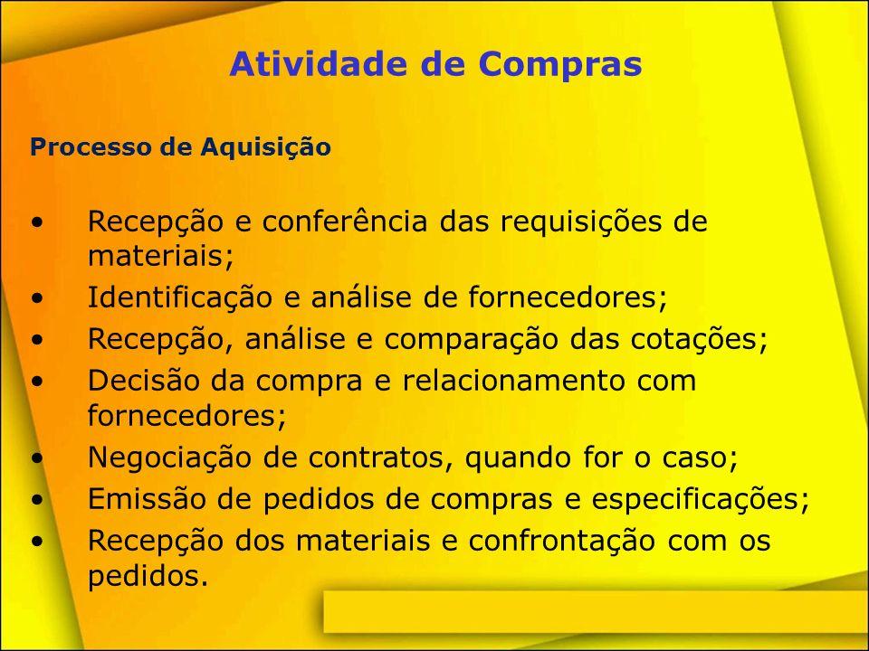Atividade de Compras Processo de Aquisição. Recepção e conferência das requisições de materiais; Identificação e análise de fornecedores;