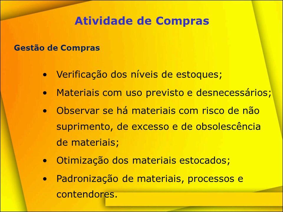 Atividade de Compras Verificação dos níveis de estoques;