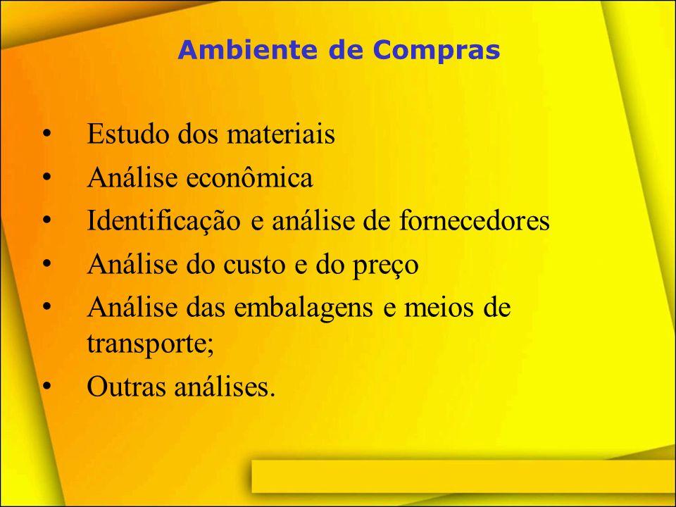 Identificação e análise de fornecedores Análise do custo e do preço