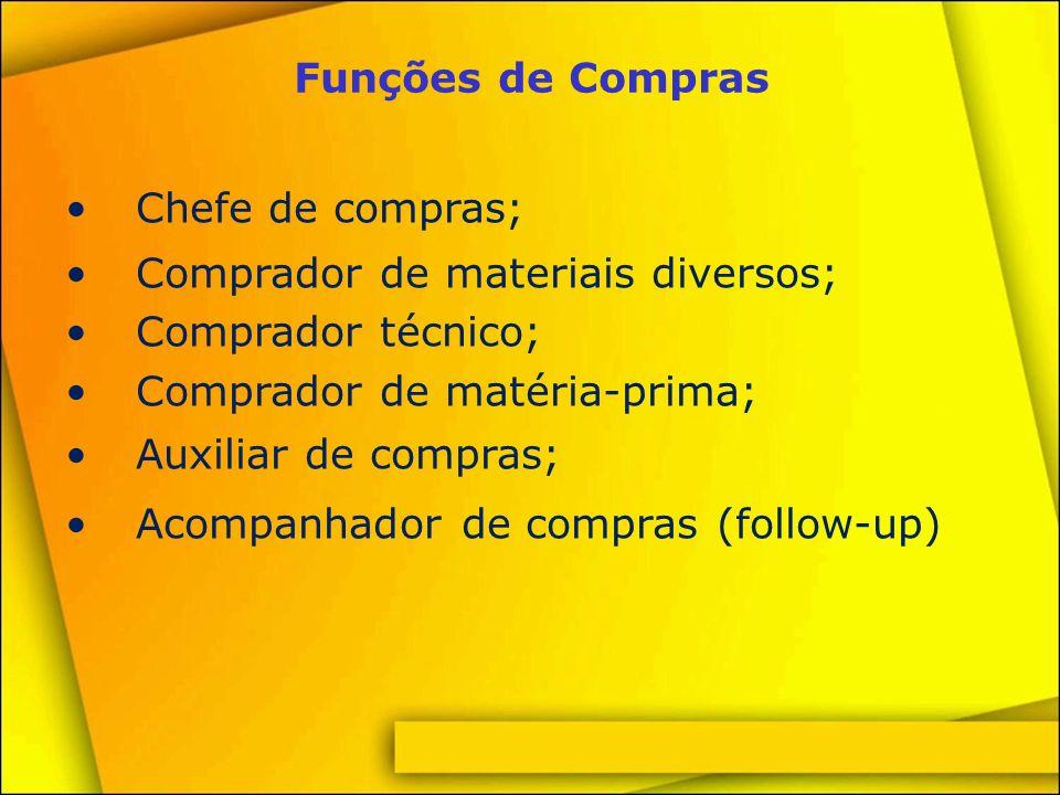 Funções de Compras Chefe de compras; Comprador de materiais diversos; Comprador técnico; Comprador de matéria-prima;