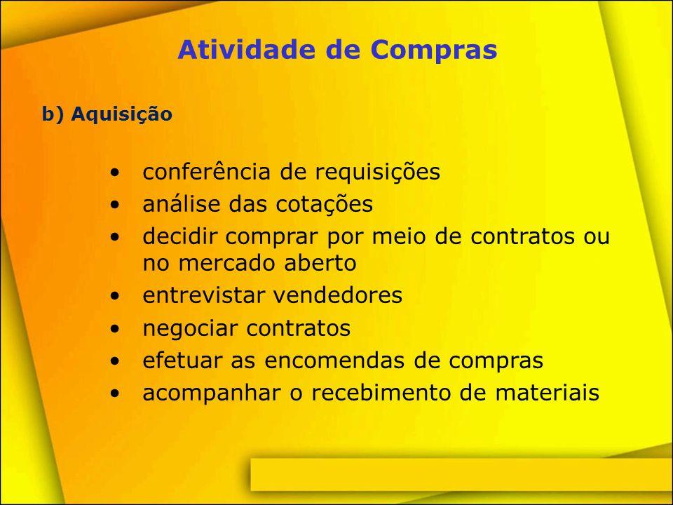 Atividade de Compras conferência de requisições análise das cotações