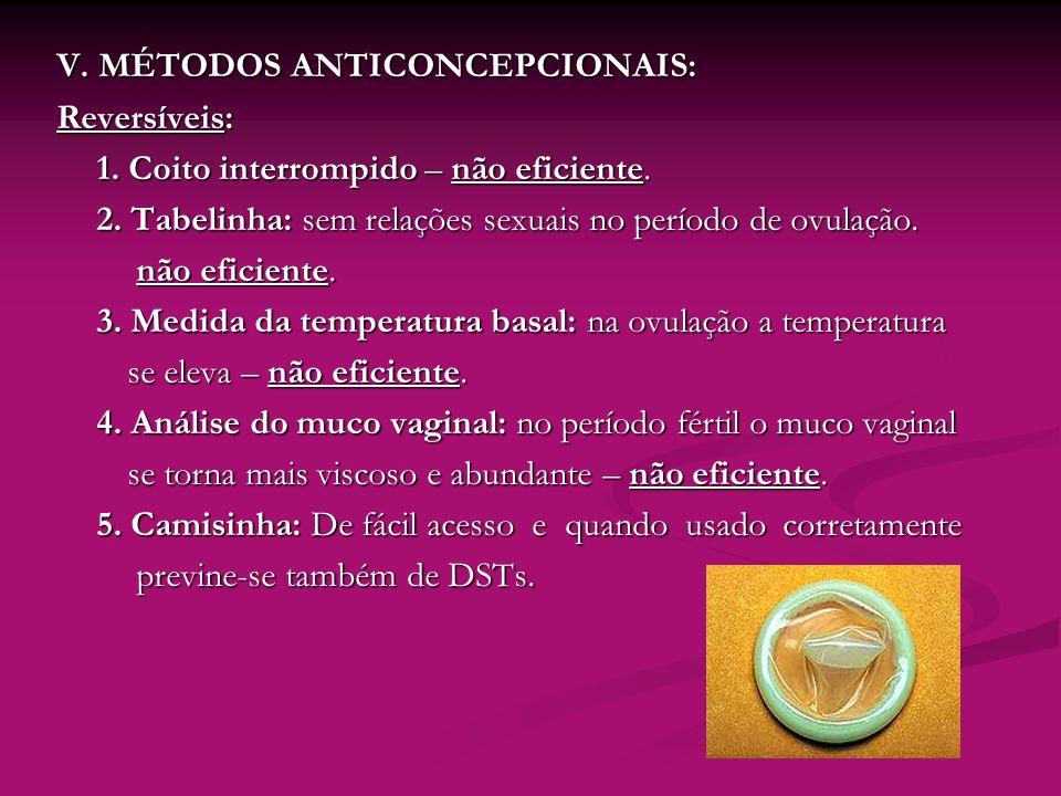 V. MÉTODOS ANTICONCEPCIONAIS: