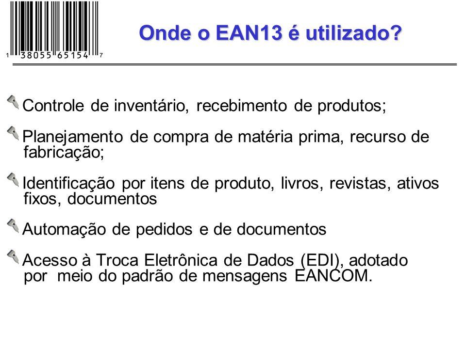 Onde o EAN13 é utilizado Controle de inventário, recebimento de produtos; Planejamento de compra de matéria prima, recurso de.