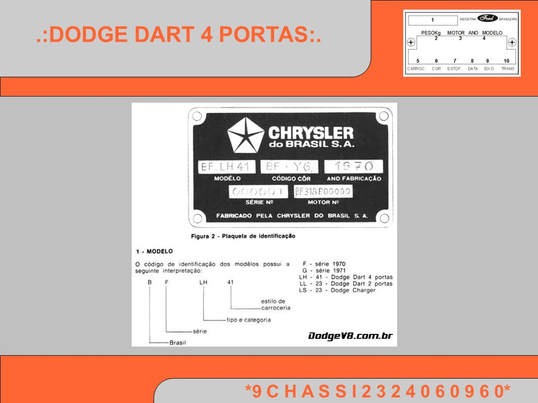 .:DODGE DART 4 PORTAS:. *9 C H A S S I 2 3 2 4 0 6 0 9 6 0*