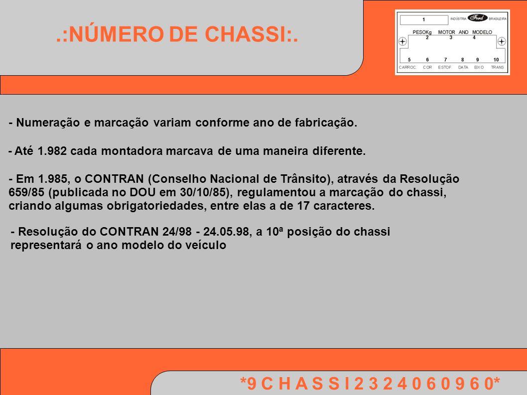 .:NÚMERO DE CHASSI:. *9 C H A S S I 2 3 2 4 0 6 0 9 6 0*
