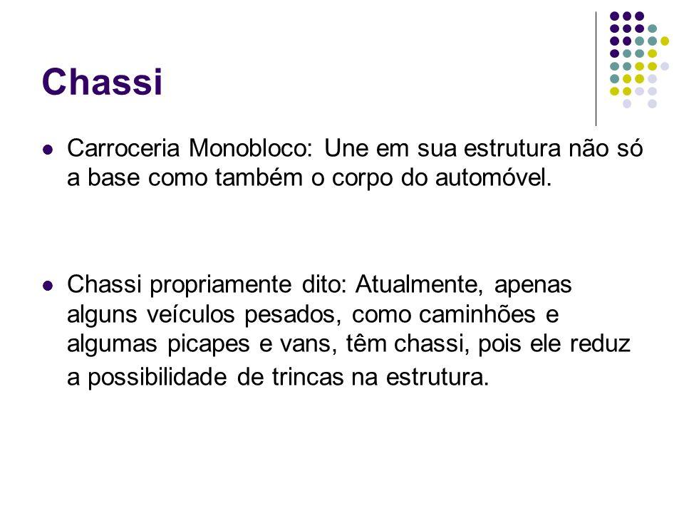 Chassi Carroceria Monobloco: Une em sua estrutura não só a base como também o corpo do automóvel.
