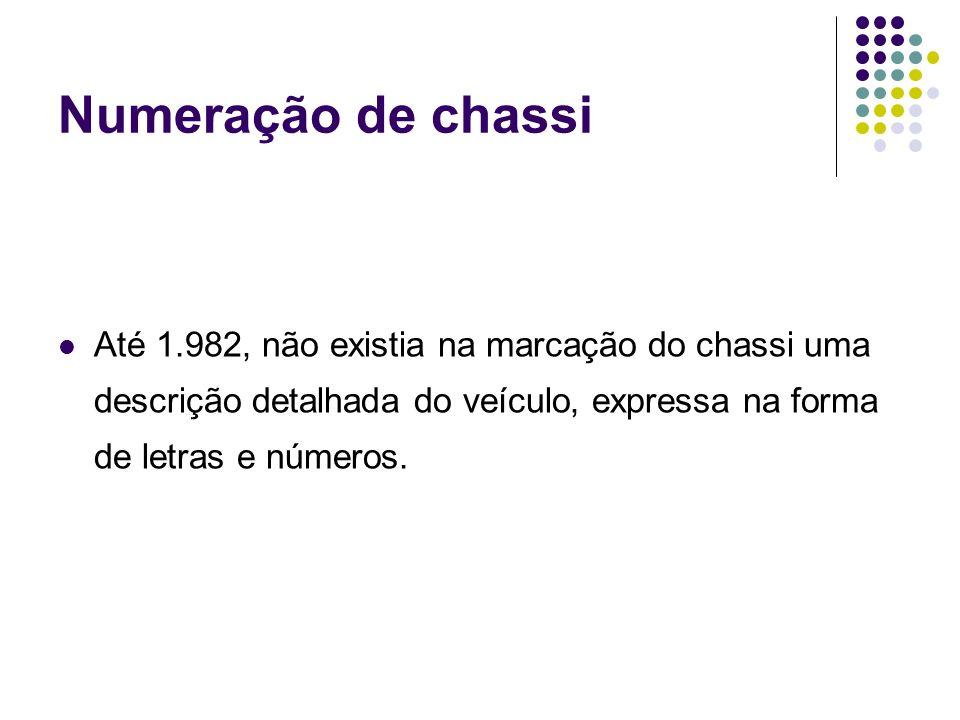 Numeração de chassi Até 1.982, não existia na marcação do chassi uma descrição detalhada do veículo, expressa na forma de letras e números.