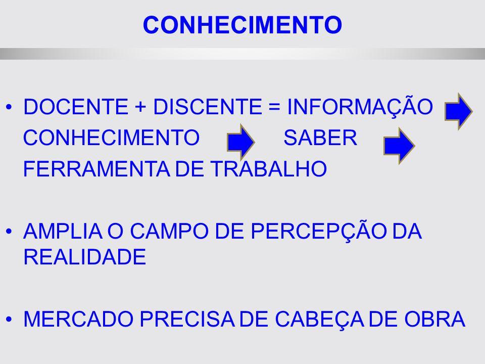 CONHECIMENTO DOCENTE + DISCENTE = INFORMAÇÃO CONHECIMENTO SABER