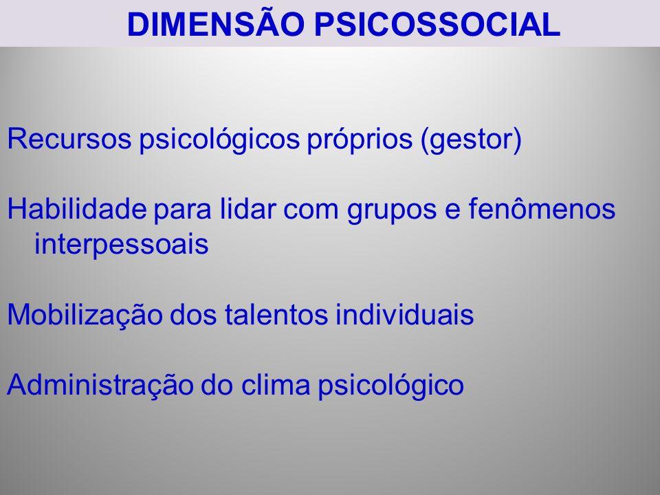 DIMENSÃO PSICOSSOCIAL
