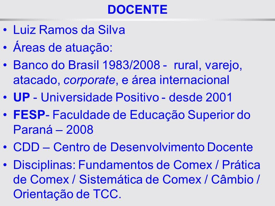 DOCENTE Luiz Ramos da Silva. Áreas de atuação: Banco do Brasil 1983/2008 - rural, varejo, atacado, corporate, e área internacional.